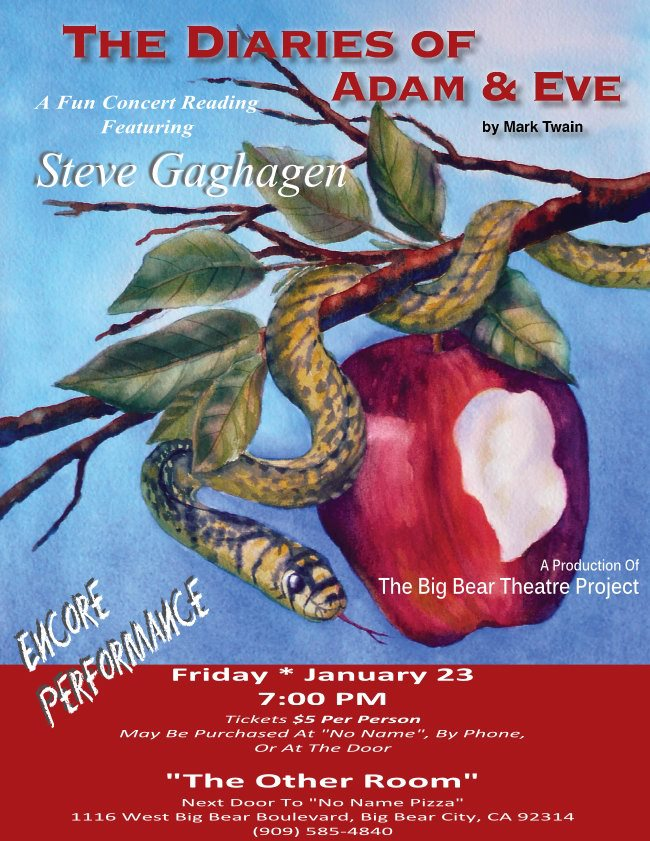 Diaries of Adam and Eve | Big Bear Theatre Project| Steve Gaghagen